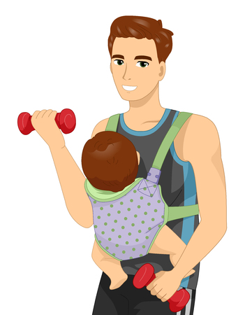 Fitness Illustration of a Man Lifting a Dumbbell While a Baby is Strapped to His Body Stock Photo