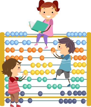 arithmetic: Stickman Illustration of Preschool Kids Using a Giant Abacus to Perform Basic Arithmetic Stock Photo