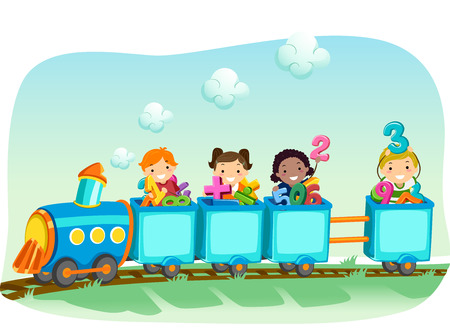 signos matematicos: Ilustración stickman de un grupo diverso de preescolar de los niños en un tren de la locomotora