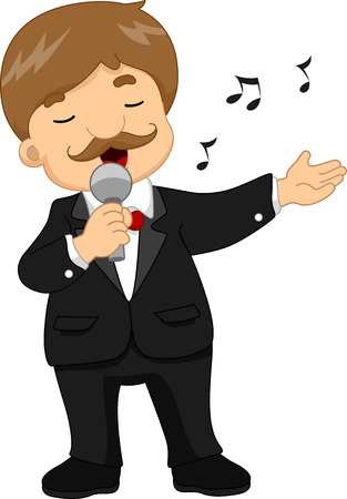 ballad: Illustration of a Male Singer in a Black Tuxedo Doing Hand Gestures While Singing Stock Photo