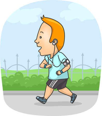 listening: Fitness Illustration of a Man in Workout Clothes Listening to Music While Running Stock Photo