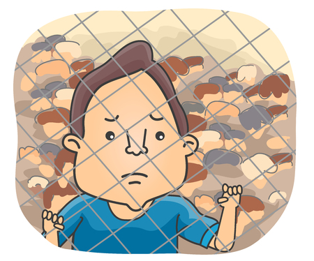 bleak: Illustration of a Sad Male Refugee Holding on to a Chain Link Fence While Looking Afar Stock Photo