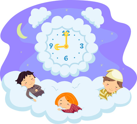 Whimsical Illustration of Stickman Kids in Pajamas Sleeping on a Bed of Clouds Foto de archivo