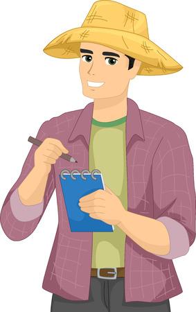 Illustration d'un fermier Homme Vêtu d'un à manches longues Polo et un chapeau de paille de notes vers le bas