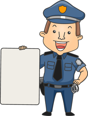 enforcer: Illustration of a Smiling Man in Complete Police Uniform Holding a Blank Board Stock Photo