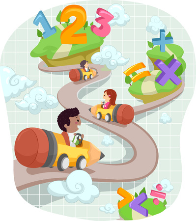 Whimsical Stickman Illustration of Preschool Kids Traveling Through Islands Decorated with Mathematical Symbols Stock Photo