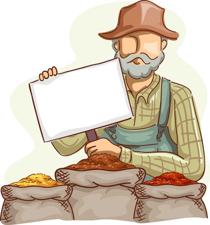 Illustration of a Farmer in Overalls and a Straw Hat Holding Blank Board with Grains Stock Photo