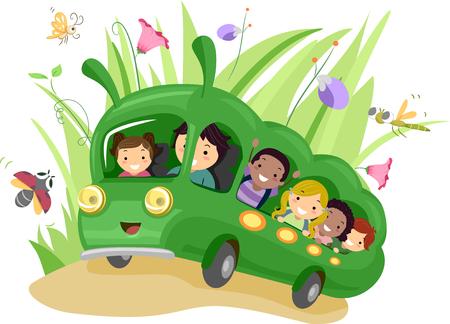 stick bug: Stickman Illustration of Preschool Kids Riding a Green School Bus Shaped Like a Giant Bug