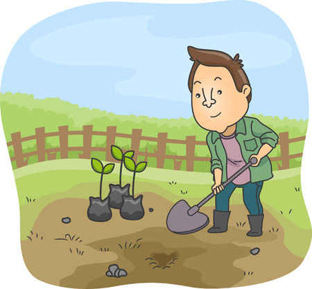 Illustration of a Man Dressed as a Farmer Using a Shovel to Dig the Ground Before Planting Saplings Stock Photo
