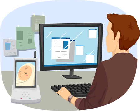 working on computer: Illustration of a Man Working on a Computer While Watching His Baby Through a Monitor