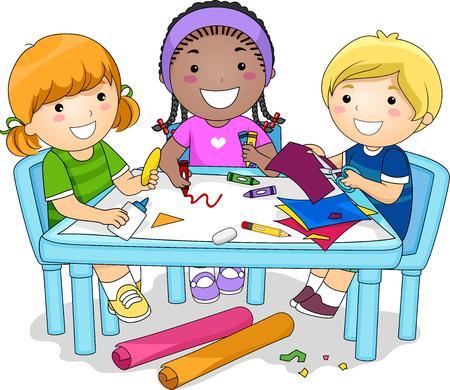 예술과 공예 프로젝트에서 함께 일하는 유치원 어린이의 다양한 그룹의 그림