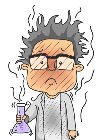 combustible: Illustration of a Man Dressed as a Scientist Looking Dirty After a Failed Chemical Experiment