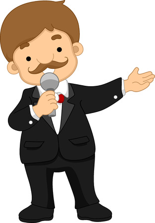 Illustration of a Man Dressed in a Tuxedo Working as a Program Presenter