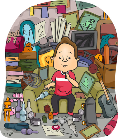 Illustration of a Satisfied Man Surrounded by a Stockpile of Random Items He Collected Over the Years