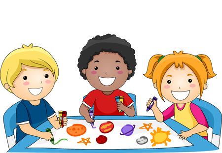 함께 태양계의 행성을 그리기 유치원 어린이의 다양한 그룹의 그림