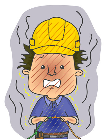 jolt: Illustration of a Shocked Electrician in Safety Helmet Frying After Holding a Live Wire
