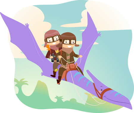 Stickman Illustration of Kids in Aviator Jacket and Glasses Riding a Pterodactyl Stock Photo