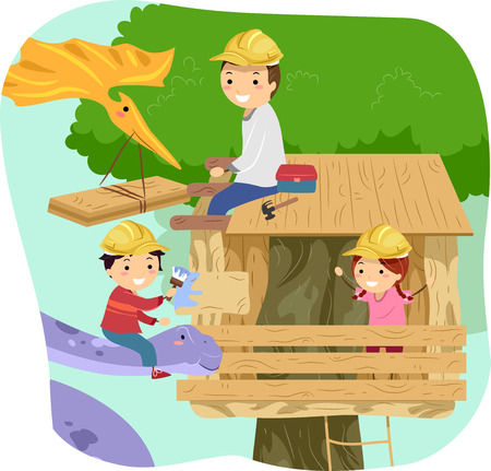 small group of animal: Stickman Illustration of Kids Making a Tree House with the Help of Their Dad and a Large Purple Dinosaur Stock Photo