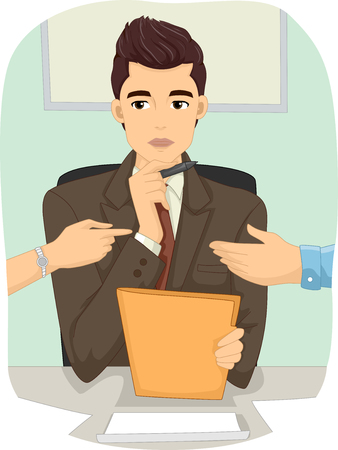 Illustration of a Male Divorce Mediator Listening to an Arguing Couple