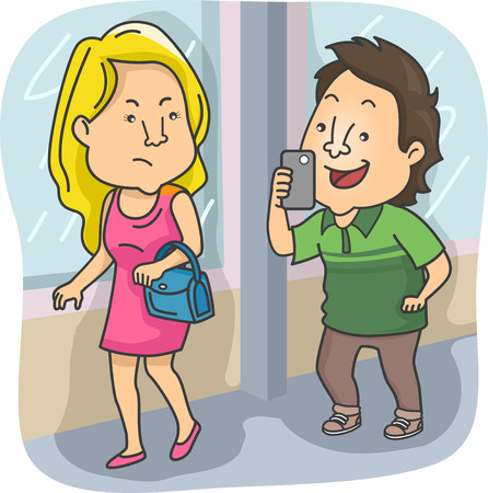 Illustration of a Grinning Man Following an Irritated Girl and Taking Her Photos Without Her Permission Stock Photo
