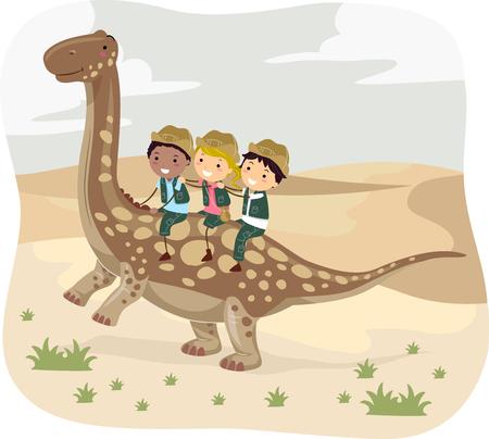 small group of animal: Stickman Illustration of Kids in Uniform Riding an Argentinosaurus Through the Desert