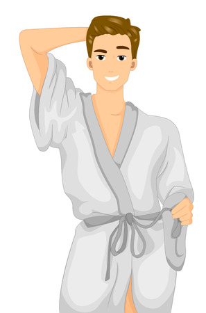 Illustration of a Fit Male Model in a White Bathrobe Striking a Suggestive Pose