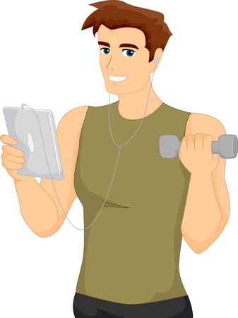 man: Fitness Illustration of a Muscular Man in Workout Clothes Browsing the Internet While Lifting a Dumbbell