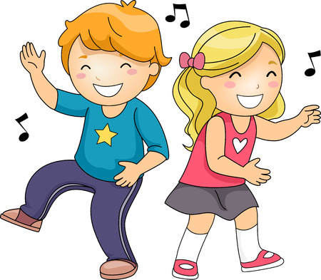 Illustration of a Cute Pair of Little Kids Grinning While Dancing Energetically Stock Photo
