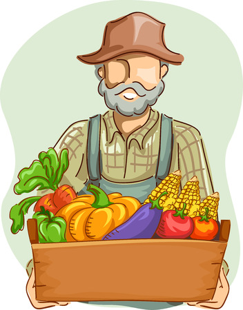 freshly: Illustration of a Farmer in Overalls and a Straw Hat Carrying a Crate Full of Freshly Picked Vegetables