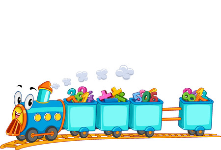 number border: Education Themed Border Illustration Featuring a Locomotive Train Mascot Transporting Colorful Numbers Stock Photo