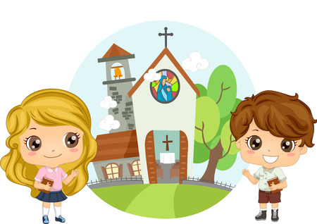 church service: Illustration of a Pair of Preschool Kids Carrying Bibles Attending Church Service