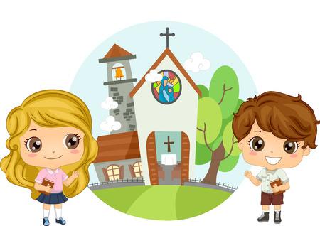 attending: Illustration of a Pair of Preschool Kids Carrying Bibles Attending Church Service