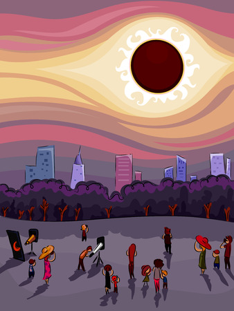 Illustration of a Crowd of People Gathered Around to Watch the Solar Eclipse Together Stock Photo