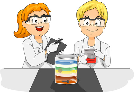 Illustration of Preschool Kids in Laboratory Coats Examining Densities of Different Liquids