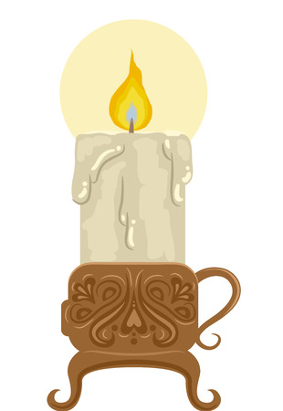 candle holder: Illustration Featuring a Candle Holder with Intricate Carving Holding a Melting Candle