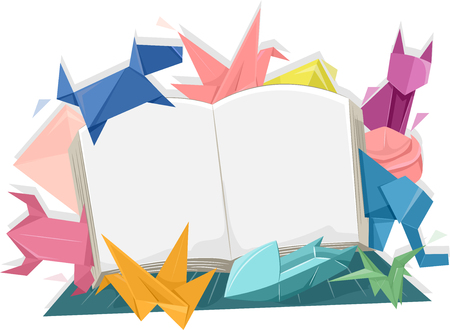 prose: Illustration of an Open Book Surrounded by Colorful Origami of Animals