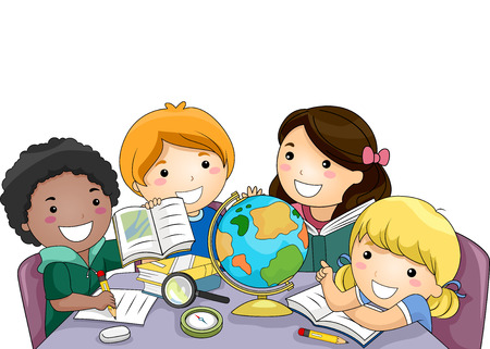 study group: Illustration of a Diverse Group of Preschool Kids Using Different Educational Tools to Study Geography Stock Photo