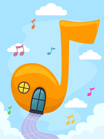 music notation: Whimsical Illustration of a Colorful Floating House Shaped Like a Musical Note Stock Photo