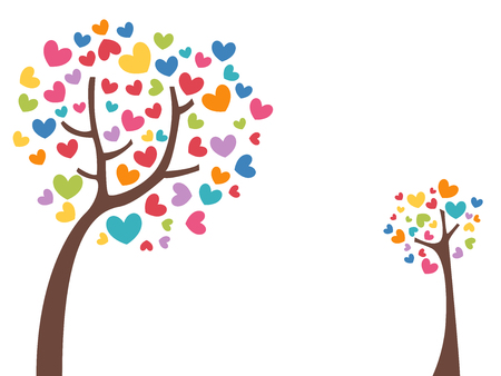 Conceptual Illustration Featuring a Lean Tree with Colorful Hearts as Leaves Stock Photo
