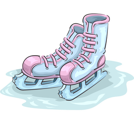Illustration Featuring a Pair of Ice Skating Shoes for Girls Standing on an Ice Rink