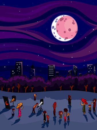 lunar eclipse: Illustration of a Crowd of People Gathered Around to Watch the Lunar Eclipse Together