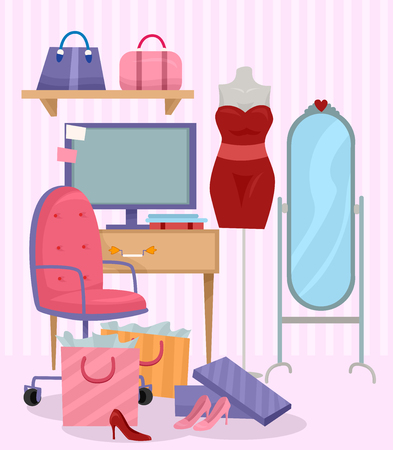 dress form: Illustration of a Computer Monitor Surrounded by a Sewing Dress Form, an Oval Mirror, and Colorful Shopping Bags