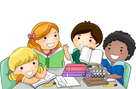 schooler: Illustration of a Diverse Group of Preschool Kids Studying Physics Together Stock Photo