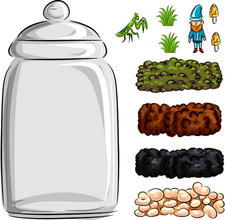 terrarium: Illustration of a Homemade Terrarium Made from a Glass Jar and Layers of Sod, Mud, Peat, and Pebbles