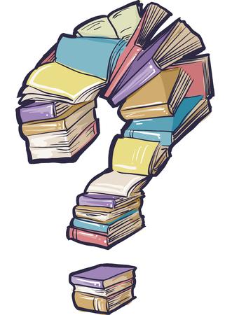 marca libros: Ilustración conceptual cuenta con una gran colección de libros que forman la forma de un signo de interrogación