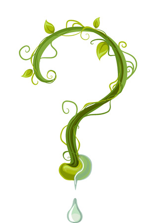 Conceptual Illustration of a Large Question Mark Decorated with Green Vines with a Water Droplet at the Bottom Stock Photo