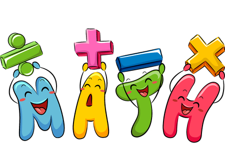 themed: Education Themed Illustration Featuring Colorful Mathematical Symbol Mascots