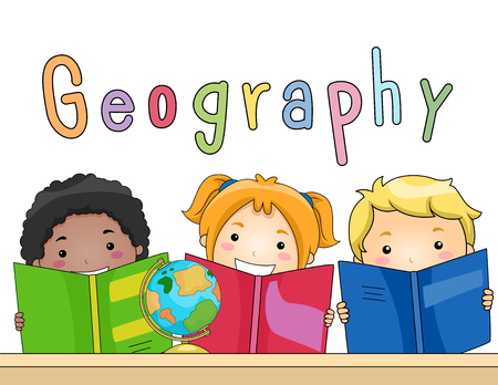 directory: Illustration of a Diverse Group of Preschool Kids Studying Geography Together