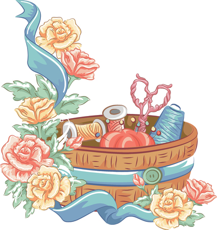 kit de costura: Ilustración que ofrece un kit de costura decorado con vistosas flores y una cinta azul