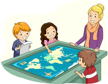 a table: Illustration of a Group of Preschool Kids Studying Geography with the Help of an Interactive Surface Table Stock Photo